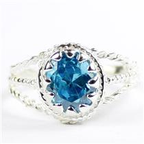 Swiss Blue CZ, 925 Sterling Silver Ladies Ring, SR070