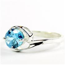 Swiss Blue CZ, 925 Sterling Silver Ring,SR186