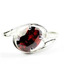 Garnet CZ, 925 Sterling Silver Ring, SR186
