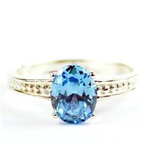 Swiss Blue CZ, 925 Sterling Silver Ladies Ring, SR371