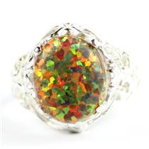 Created Red Brown Opal, 925 Sterling Silver Ladies Ring, SR114