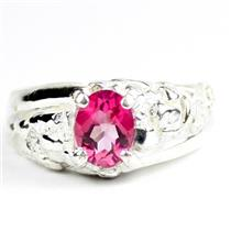 925 Sterling Silver Men's Nugget Ring, Created Pink Sapphire, SR368