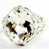 925 Sterling Silver Ladies Filigree Ring, Silver Topaz, SR114