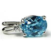 925 Sterling Silver Pendant, Swiss Blue CZ, SP020