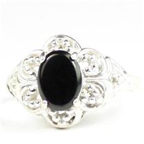 925 Sterling Silver Ladies Ring, Black Onyx, SR125