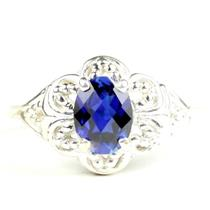 925 Sterling Silver Ladies Filigree Ring, Created Blue Sapphire, SR125