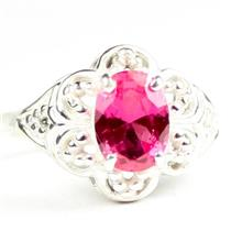 925 Sterling Silver Ladies Filigree Ring, Created Pink Sapphire, SR125