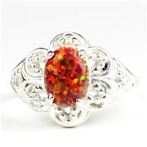 925 Sterling Silver Ladies Filigree Ring, Created Red Brown Opal, SR125