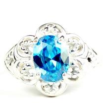 925 Sterling Silver Ladies Filigree Ring, Swiss Blue CZ, SR125