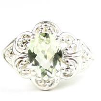 925 Sterling Silver Ladies Filigree Ring, Green Amethyst (Prasiolite), SR125