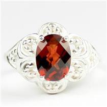 925 Sterling Silver Ladies Filigree Ring, Mozambique Garnet, SR125