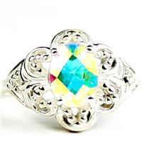 925 Sterling Silver Ladies Filigree Ring, Mercury Mist Topaz, SR125