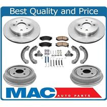 Saturn SL SC SW 91 to 02  Frt & Rr Rotors  Drums Front Pads Rear Brake Shoes 9Pc