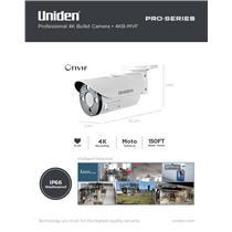 4K Pro Series 4K IP Surveillance Moto-Varifocal Bullet Camera 150' Night Vision