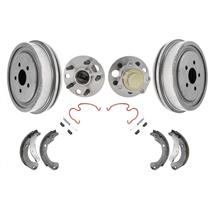 (2) Rear Brake Drums & Shoes & Brake Springs Hub & Bearings for 03-05 Cavalier
