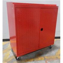 Sandusky MLS5248-RED Metal Adjustable Seven Shelf Tool Cabinet W/ Wheels