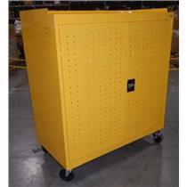 Sandusky MLS5248-EY Yellow Metal Adjustable Seven Shelf Tool Cabinet W/ Key