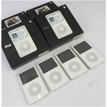 Lot Of 4 Apple iPod Classic 5th Gen A1136 80GB White Media Players W/ Boxes