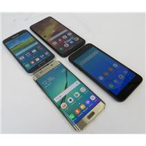 Dealer Lot 4 Samsung Phones Galaxy S6 Edge S5 A10 & J2 Core - Unknown Carriers