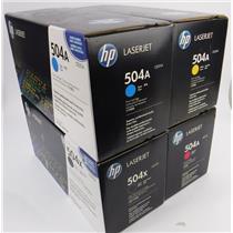 Lot of 4 New HP Laserjet 504A Magenta & Yellow Toner Cartridges CE252A CE253A