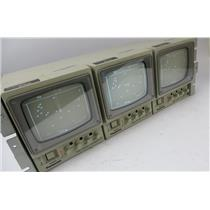 "Lot Of 3 Panasonic WV-BM500 5"" Rack Mount Black & White Video Monitors"