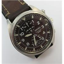 Seiko 7T94-0BL0 Brown Dial Military Style Chronograph Mens Watch W/ Leather Band