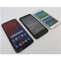 Dealer Lot Of 3 Android Phones - Moto Z4 - Blade Vantage - Galaxy S5 - Verizon