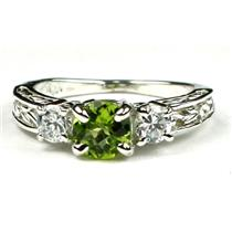 925 Sterling Silver Engagement Ring, Peridot w/ Accents, SR254
