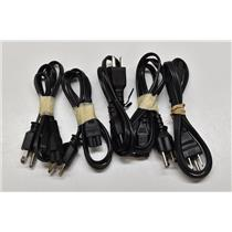 Lot of 5 Universal 3-Prong Mickey Mouse Power Cables for A/C Adapter;Laptop;TV