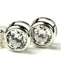 925 Sterling Silver Leverback Earrings, 1 ct Cubic Zirconia, SE018