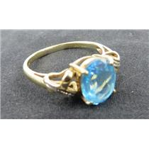10k Yellow Gold Ring W/ Unknown Blue Stone Size 9.5 Stamped 10k - 3.50g Total