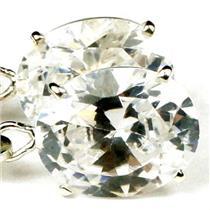 925 Sterling Silver Leverback Earrings, Cubic Zirconia, SE107