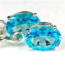 925 Sterling Silver Leverback Earrings, Paraiba Topaz, SE007