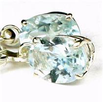 925 Sterling Silver Leverback Earrings, Aquamarine,  SE007