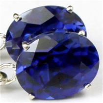 925 Sterling Silver Leverback Earrings, Created Blue Sapphire, SE107