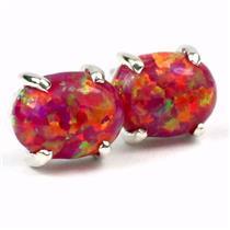 925 Sterling Silver Post Earrings, Created Red/Brown Opal, SE002C