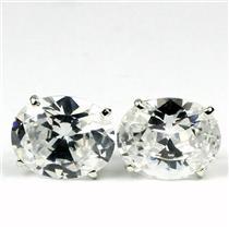 925 Sterling Silver Post Earrings, Cubic Zirconia, SE102