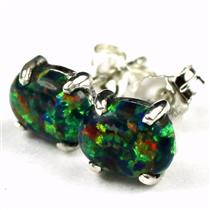 925 Sterling Silver Post Earrings, Created Black Opal, SE002C