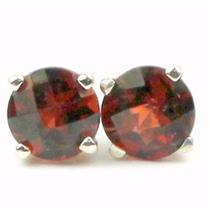 925 Sterling Silver Post Earrings, Mozambique Garnet, SE012