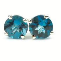 925 Sterling Silver Post Earrings, London Blue Topaz, SE012
