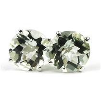 925 Sterling Silver Post Earrings, Green Amethyst, SE112