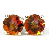 925 Sterling Silver Post Earrings, Twilight Fire Topaz, SE012