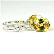 925 Sterling Silver Leverback Earrings, Golden Yellow  CZ, SE107
