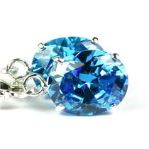 925 Sterling Silver Leverback Earrings, Swiss Blue CZ, SE107