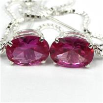 925 Sterling Silver Threader Earrings, Created Pink Sapphire, SE003