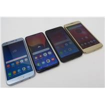 Dealer Lot Of 4 Android Phones - 3x Samsungs & Motorola moto e4 - Metro PCS