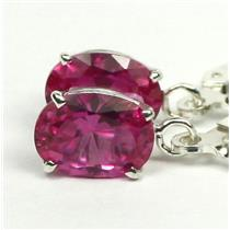 925 Sterling Silver Leverback Earrings, Created Pink Sapphire, SE007