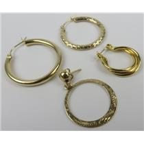 Lot Of 4 - 14k Yellow Gold Orphan / MISMATCHED Earrings - 4.17g Total Weight