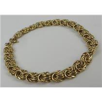 """14k Yellow Gold Small 6.5"""" Long 6mm Wide Chain Bracelet 5.86g Total Weight"""