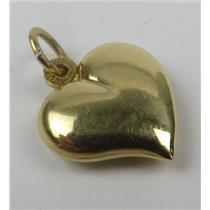 18k Yellow Gold Hollow Heart Charm / Pendant 2.32g Total Weight